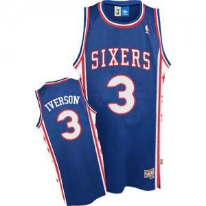 Philadelphia 76ers Allen Iverson #3 Throwack Authentic Maillot d'équipe de NBA - Bleu pour Homme