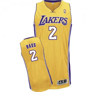 Los Angeles Lakers Brandon Bass #2 Home Authentic Maillot d'équipe de NBA - Or pour Homme