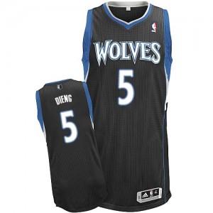 Minnesota Timberwolves #5 Adidas Alternate Noir Authentic Maillot d'équipe de NBA en ligne - Gorgui Dieng pour Homme