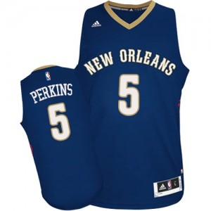 Maillot NBA New Orleans Pelicans #5 Kendrick Perkins Bleu marin Adidas Authentic Road - Homme