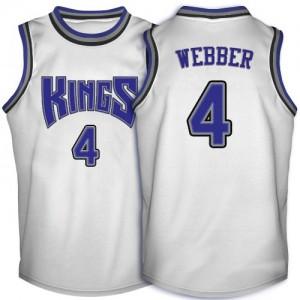 Sacramento Kings #4 Adidas Throwback Blanc Authentic Maillot d'équipe de NBA Soldes discount - Chris Webber pour Homme