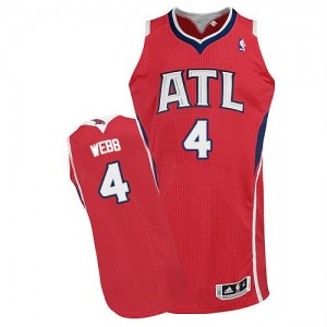 Maillot NBA Atlanta Hawks #4 Spud Webb Rouge Adidas Authentic Alternate - Homme