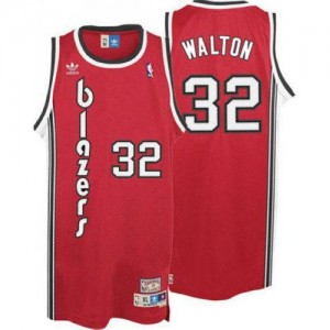 Portland Trail Blazers Bill Walton #32 Throwback Authentic Maillot d'équipe de NBA - Rouge pour Homme