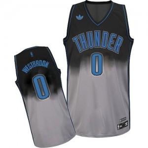 Oklahoma City Thunder Russell Westbrook #0 Fadeaway Fashion Swingman Maillot d'équipe de NBA - Gris noir pour Homme