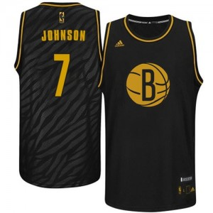Brooklyn Nets Joe Johnson #7 Precious Metals Fashion Swingman Maillot d'équipe de NBA - Noir pour Homme