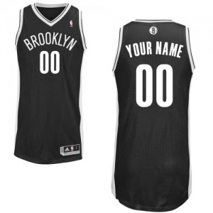 Maillot NBA Noir Authentic Personnalisé Brooklyn Nets Road Homme Adidas