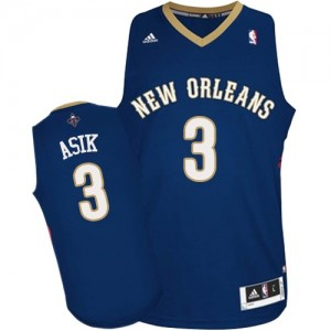 Maillot NBA Bleu marin Omer Asik #3 New Orleans Pelicans Road Authentic Homme Adidas