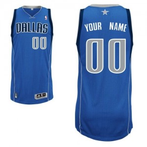 Maillot NBA Authentic Personnalisé Dallas Mavericks Road Bleu royal - Homme