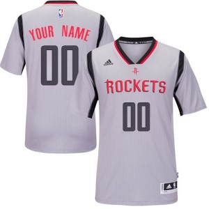 Maillot NBA Gris Authentic Personnalisé Houston Rockets Alternate Homme Adidas