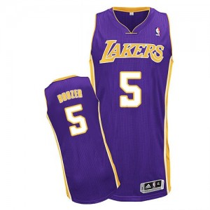 Los Angeles Lakers Carlos Boozer #5 Road Authentic Maillot d'équipe de NBA - Violet pour Homme