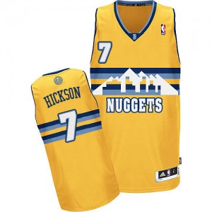 Maillot NBA Or JJ Hickson #7 Denver Nuggets Alternate Authentic Homme Adidas