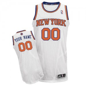 Maillot NBA New York Knicks Personnalisé Authentic Blanc Adidas Home - Homme
