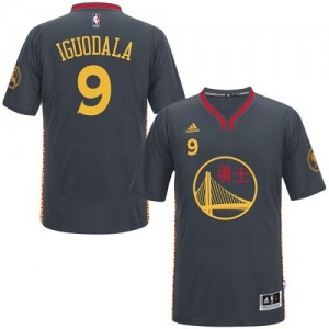 Maillot Adidas Noir Slate Chinese New Year Authentic Golden State Warriors - Andre Iguodala #9 - Homme