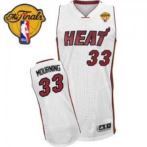 Maillot Swingman Miami Heat NBA Home Finals Patch Blanc - #33 Alonzo Mourning - Homme