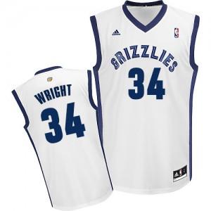 Maillot NBA Blanc Brandan Wright #34 Memphis Grizzlies Home Swingman Homme Adidas