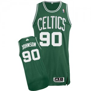 Boston Celtics Amir Johnson #90 Road Authentic Maillot d'équipe de NBA - Vert (No Blanc) pour Homme