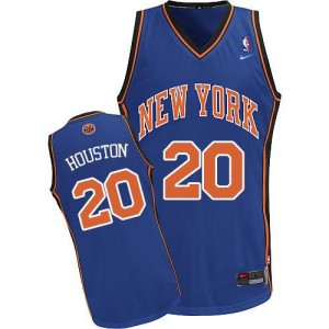 Maillot NBA New York Knicks #20 Allan Houston Bleu royal Nike Authentic Throwback - Homme