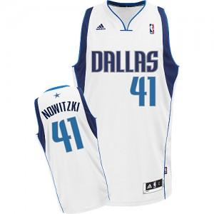 Maillot NBA Blanc Dirk Nowitzki #41 Dallas Mavericks Home Swingman Homme Adidas