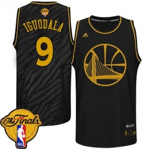Maillot NBA Noir Andre Iguodala #9 Golden State Warriors Precious Metals Fashion 2015 The Finals Patch Authentic Homme Adidas