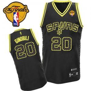 San Antonio Spurs #20 Adidas Electricity Fashion Finals Patch Noir Authentic Maillot d'équipe de NBA Vente pas cher - Manu Ginobili pour Homme