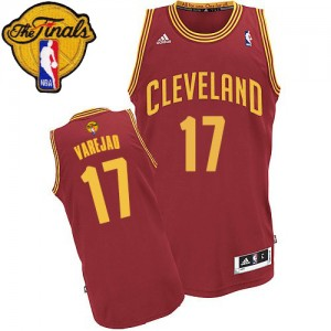 Maillot NBA Vin Rouge Anderson Varejao #17 Cleveland Cavaliers Road 2015 The Finals Patch Swingman Homme Adidas