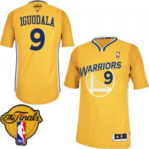 Maillot NBA Or Andre Iguodala #9 Golden State Warriors Alternate 2015 The Finals Patch Authentic Homme Adidas