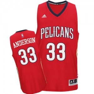 Maillot NBA New Orleans Pelicans #33 Ryan Anderson Rouge Adidas Authentic Alternate - Homme