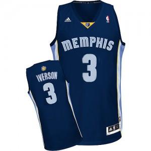 Maillot NBA Memphis Grizzlies #3 Allen Iverson Bleu marin Adidas Authentic Road - Homme