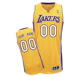Maillot Adidas Or Home Los Angeles Lakers - Authentic Personnalisé - Homme