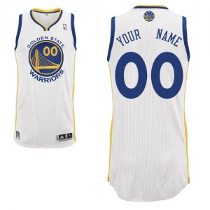 Maillot NBA Golden State Warriors Personnalisé Authentic Blanc Adidas Home - Enfants