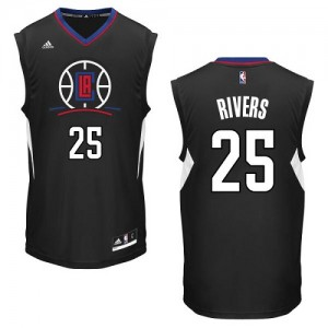 Maillot Adidas Noir Alternate Authentic Los Angeles Clippers - Austin Rivers #25 - Homme