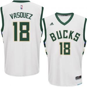 Maillot NBA Milwaukee Bucks #18 Greivis Vasquez Blanc Adidas Authentic Home - Homme