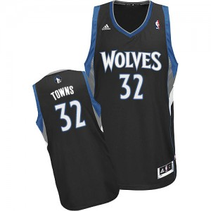 Maillot NBA Minnesota Timberwolves #32 Karl-Anthony Towns Noir Adidas Swingman Alternate - Homme