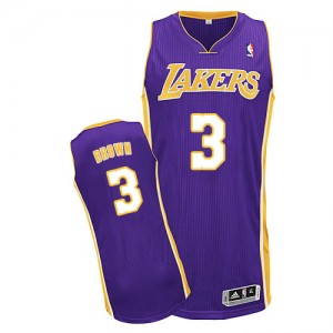Maillot NBA Los Angeles Lakers #3 Anthony Brown Violet Adidas Authentic Road - Homme