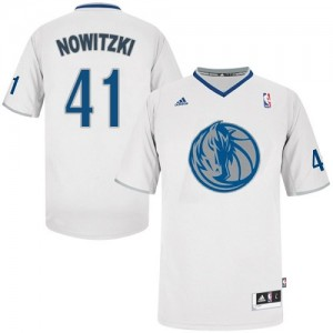 Maillot NBA Blanc Dirk Nowitzki #41 Dallas Mavericks 2013 Christmas Day Swingman Homme Adidas
