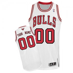Maillot NBA Blanc Authentic Personnalisé Chicago Bulls Home Homme Adidas