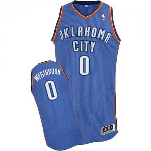 Oklahoma City Thunder #0 Adidas Road Bleu royal Authentic Maillot d'équipe de NBA Braderie - Russell Westbrook pour Enfants