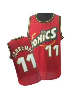 Oklahoma City Thunder Detlef Schrempf #11 Throwback SuperSonics Authentic Maillot d'équipe de NBA - Rouge pour Homme