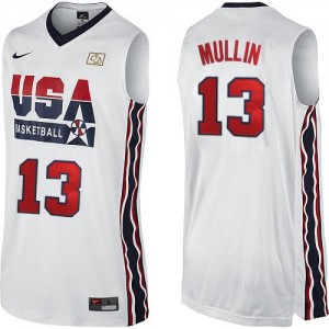 Maillots de basket Authentic Team USA NBA 2012 Olympic Retro Blanc - #13 Chris Mullin - Homme