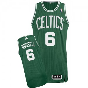 Maillot NBA Boston Celtics #6 Bill Russell Vert (No Blanc) Adidas Authentic Road - Homme