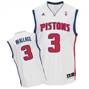 Detroit Pistons #3 Adidas Home Blanc Swingman Maillot d'équipe de NBA Promotions - Ben Wallace pour Homme