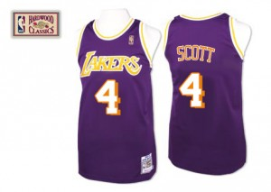 Maillot NBA Los Angeles Lakers #4 Byron Scott Violet Mitchell and Ness Authentic Throwback - Homme
