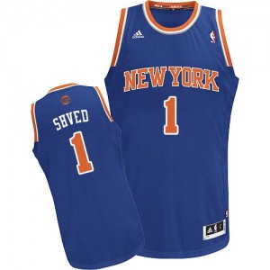 Maillot Adidas Bleu royal Road Swingman New York Knicks - Alexey Shved #1 - Homme