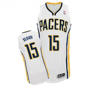 Maillot NBA Indiana Pacers #15 Donald Sloan Blanc Adidas Authentic Home - Homme