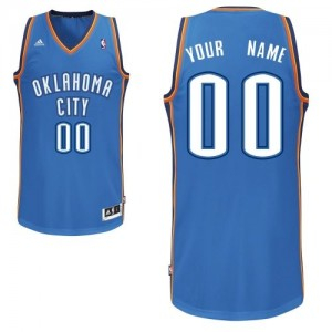 Maillot Adidas Bleu royal Road Oklahoma City Thunder - Swingman Personnalisé - Enfants