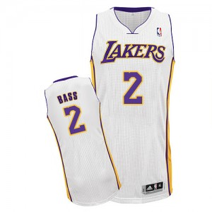 Maillot NBA Los Angeles Lakers #2 Brandon Bass Blanc Adidas Authentic Alternate - Homme