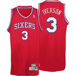 Maillot Authentic Philadelphia 76ers NBA Throwack Rouge - #3 Allen Iverson - Homme