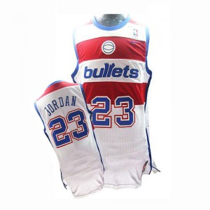 Washington Wizards Nike Michael Jordan #23 Throwback Authentic Maillot d'équipe de NBA - Blanc pour Homme