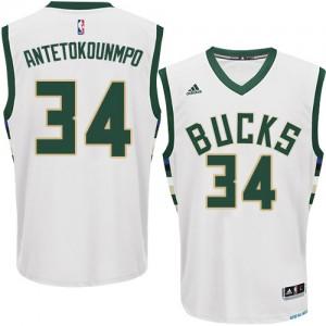 Milwaukee Bucks Giannis Antetokounmpo #34 Home Swingman Maillot d'équipe de NBA - Blanc pour Homme