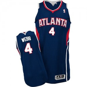 Maillot NBA Atlanta Hawks #4 Spud Webb Bleu marin Adidas Authentic Road - Homme